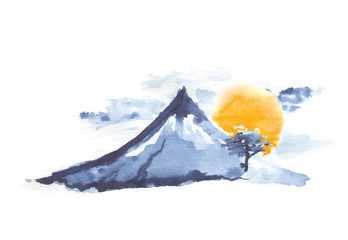 Mountain Fuji and sun, japanese art, vector