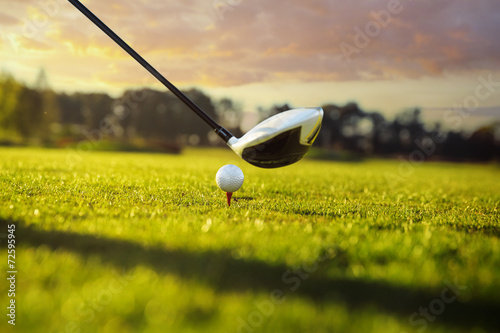 Tuinposter Golf Golf club and ball in grass