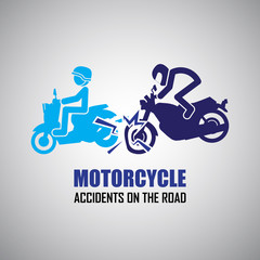 Motorcycle crash and accidents icons