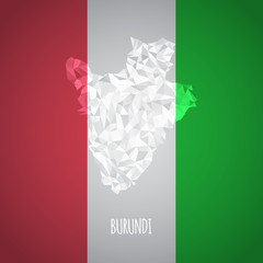 Low Poly Burundi Map with National Colors
