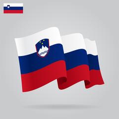 Flat and waving Slovenian Flag. Vector