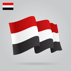 Flat and waving Yemen Flag. Vector