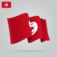 Flat and waving Tunisia Flag. Vector