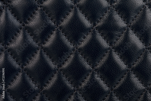 Black quilted leather close-up - 72596995