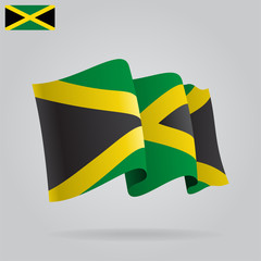 Flat and waving Jamaica Flag. Vector