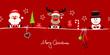 Card Santa, Rudolph & Snowman Symbols Red