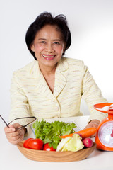 dietician, woman dietician nutrition with a bowl of vegetable