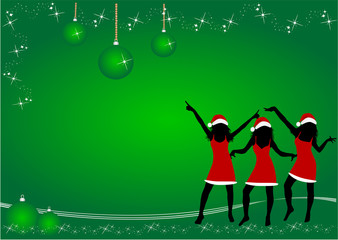 Christmas  Time  ,  green  background