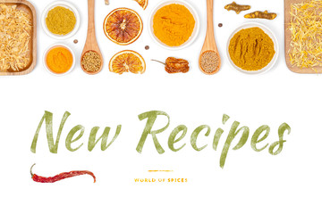 new recipes, spices and herbs on white background