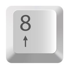 Pc number keypad 8 on white background