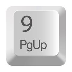Pc number keypad 9 on white background