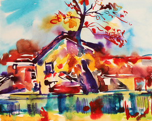 original watercolor abstract rural landscape