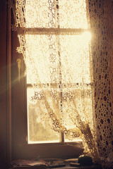 retro window with beautiful lace curtains