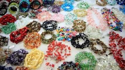 Accessories shop with beads, bracelet. HD. 1920x1080