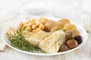 cod fish with chick-pea and potato