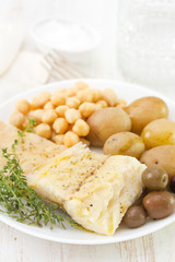 boiled cod fish with chick-pea and potato