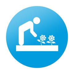 Etiqueta tipo app redonda jardineria