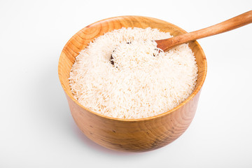 White Rice in Wood Bowl on White Counter