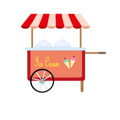 ice cream cart isolated