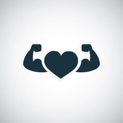 strong health icon, heart with muscle arms