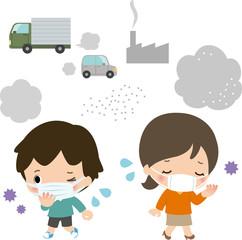 排気ガスとマスクをした子供と女性