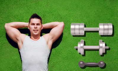 Fitness, sport, workout - concept. Handsome sportsman relaxing