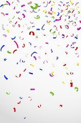 Colorful confetti on white background for celebration