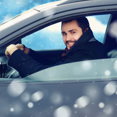 Transportation, winter and people concept - closeup happy smilin