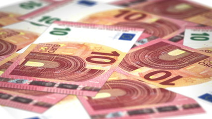 Seamless loop animation of the new 10 Euro banknote