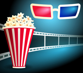 Package with popcorn with film strip and 3d glasses