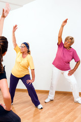 Senior woman in aerobic session.