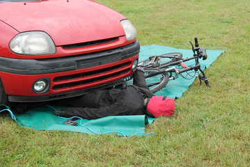 A Mock-up of a Car and Bicycle Road Traffic Accident.