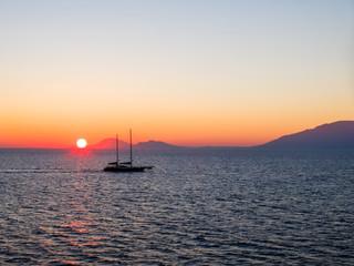 Sunrise sky in the Aegean Sea