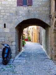 Arched cobblestone lane