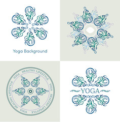 yoga symbols set