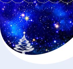 Christmas night sky background and fir tree.