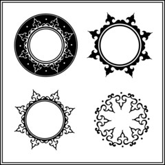 black round patterned frames