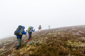 Group of hiker are walking in mountains covered with dense cloud