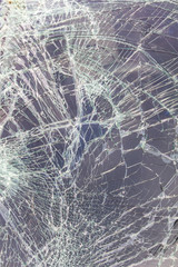 Close up of the windshield to crack due to an accident collided.