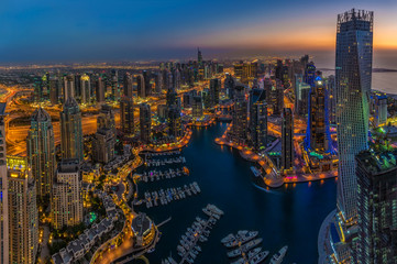 DUBAI, UAE - OCTOBER 13: Modern buildings in Dubai Marina, Dubai