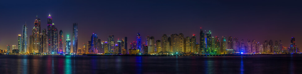 Panorama skyscrapers in Dubai Marina. UAE