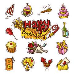 Birthday sketch color icon set