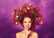Leinwanddruck Bild - Beautiful redhead girl with christmas toys and canes in hair on