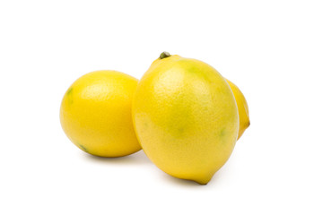 Three Lemons On White Background
