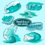 Waves icons set colored