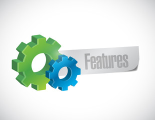 features and gears sign illustration