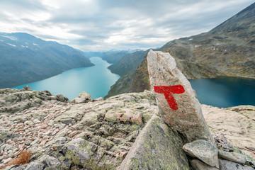 Besseggen ridge at Jotunheimen National Park red letter T