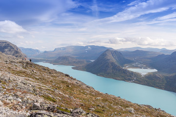 Besseggen ridge at Jotunheimen National Park overlooking Lake Gj