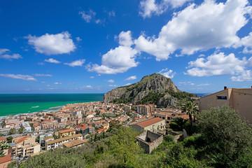 Bay in Cefalu Sicily hill