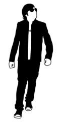 Walking Young Man Silhouette
